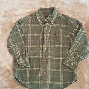 Boys XS (4) green plaid shirt